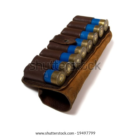 vintage ammunition belt isolated on white - stock photo