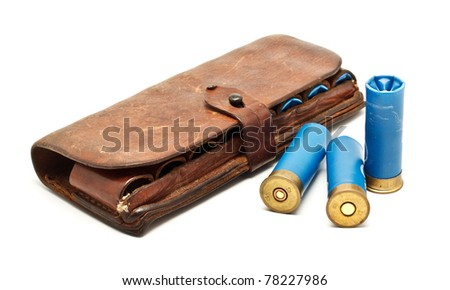 vintage ammunition belt isolated on white background - stock photo