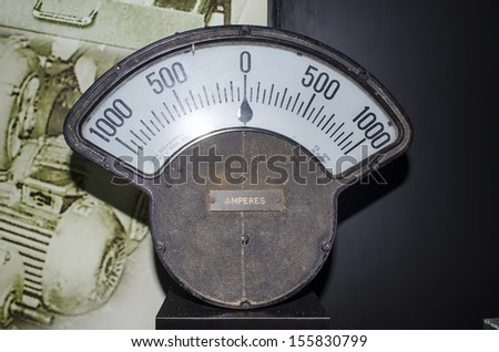 Vintage analog ampere meter - stock photo