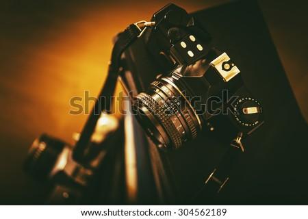 Vintage Analog Film Cameras Closeup. Vintage Photography Concept. - stock photo
