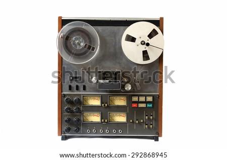 vintage analog recorder machine reel to reel on white background  - stock photo
