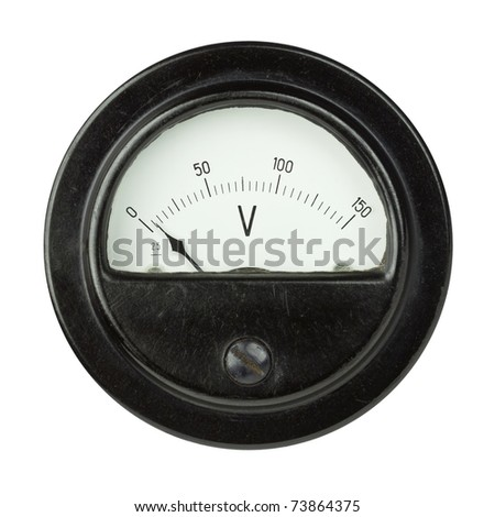 Vintage ancient voltmeter isolated on white background - stock photo