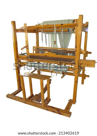 Vintage ancient wooden loom isolated over white background - stock photo