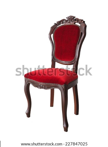 Vintage and antique red chair isolated on a white background