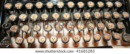 vintage and old typewriter keys