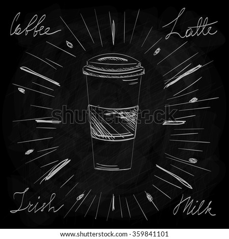 Vintage and Retro Coffee Latte Irish Milk in Sketch on the Chalkboard Design - stock photo