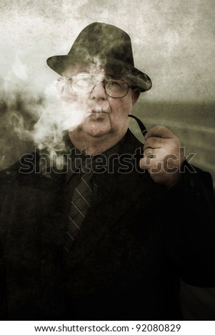 Vintage And Textured Portrait Of A Pondering Private Eye Thinking And Philosophizing Up A Plot And Motives To Unravel Unsolved Mysteries - stock photo