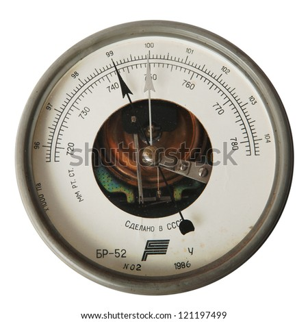 vintage aneroid barometer isolated over white background - stock photo