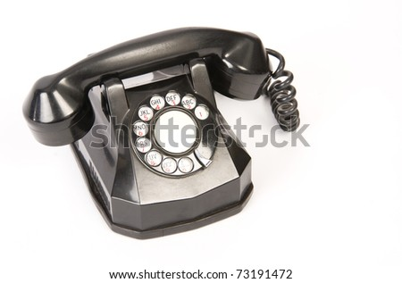 Vintage Antique Bakelite Rotary Dial Phone Isolated on White Background