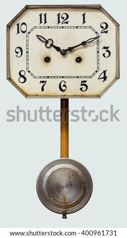 vintage antique clock with pendulum - stock photo