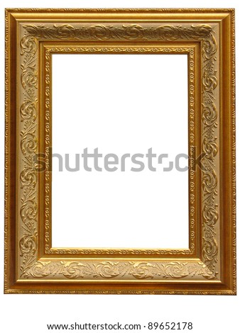 Vintage antique gold picture frame isolated over white background - stock photo