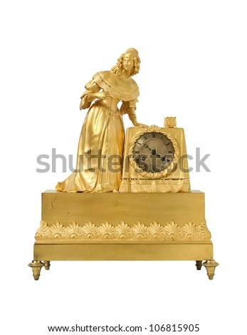 Vintage antique  golden clock - stock photo