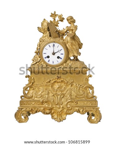 Vintage antique golden clock, isolated on white - stock photo