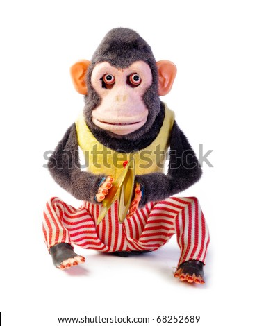 Vintage antique monkey isolated on white background - stock photo
