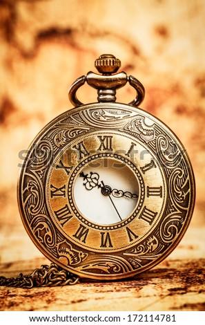 Vintage Antique pocket watch. - stock photo