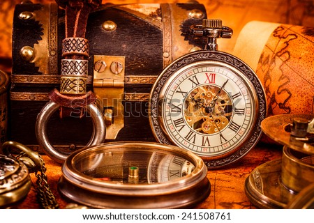 Vintage Antique pocket watch. Vintage grunge still life. - stock photo