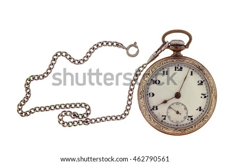 Vintage antique pocket watch with chain isolated on a white background.