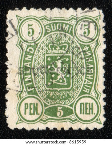 Vintage antique postage stamp from Finland