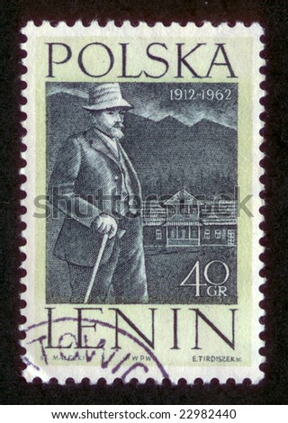 Vintage antique postage stamp from Poland with USSR lieder V. I. Lenin.