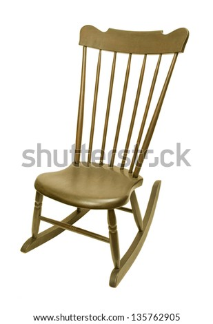 Vintage antique rocking chair against white background