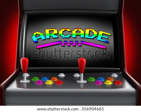 Vintage arcade machine with joysticks and push buttons for two people. - stock photo