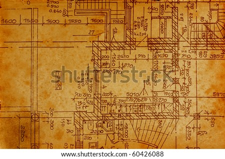 vintage architectural drawing, on grunge paper with some stains - stock photo