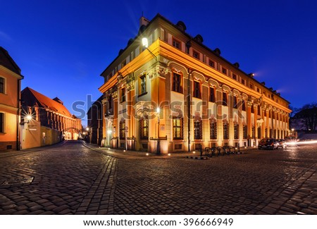 Vintage architecture of Wroclaw, Poland in the evening.