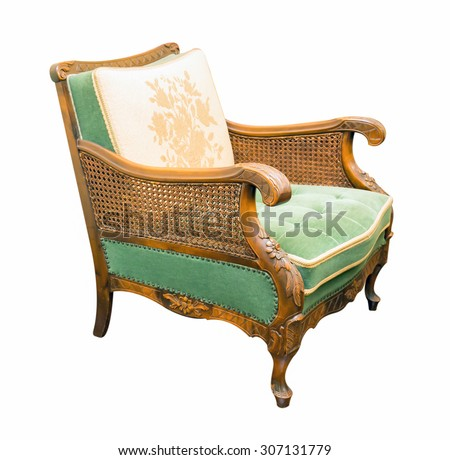 vintage armchair isolated on white background - stock photo