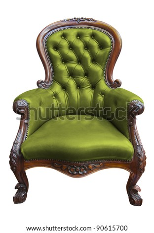 vintage armchair isolated on white  with clipping path - stock photo