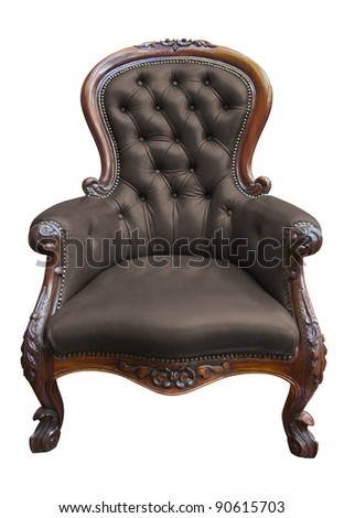 vintage armchair isolated on white  with clipping path