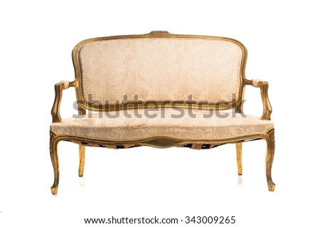 Vintage armchair over white background