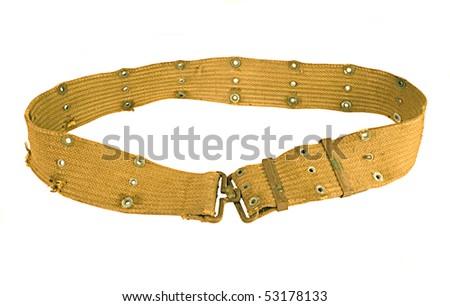Vintage Army Belt isolated on white - stock photo