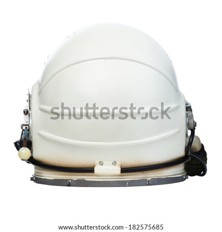 Vintage astronaut helmet isolated on a white background. Rear view  - stock photo