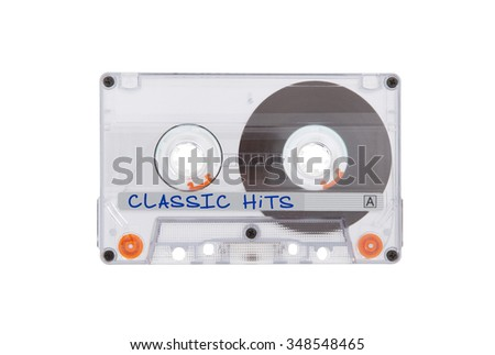 Vintage audio cassette tape, isolated on white background, Classical hits - stock photo