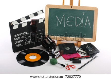 Vintage audio tape and multimedia - stock photo