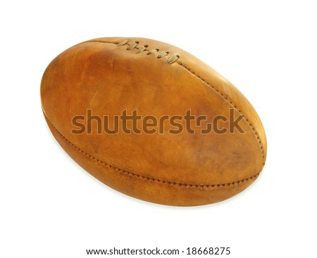 Vintage Australian Rules football, isolated on white.  Clipping path included. - stock photo