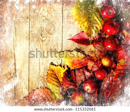 Vintage Autumn Border From Apples And Fallen Leaves On Old Wooden Table Thanksgiving Day Concept