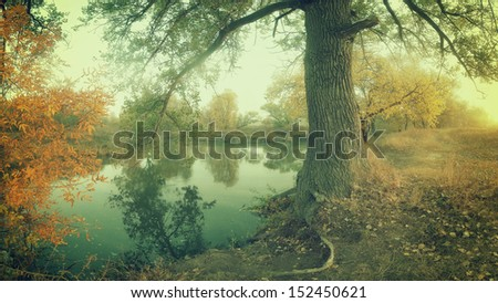 Vintage autumn landscape on coast of the river, panorama