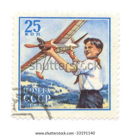 Vintage aviation on russian stamps