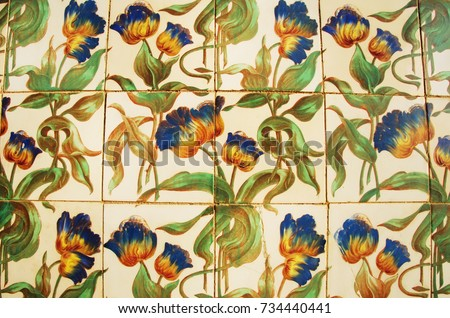 Vintage azulejos (ancient tiles) from the old palace - Algarve, Portugal