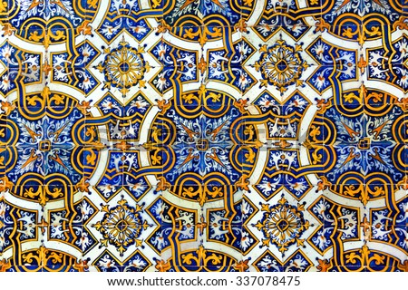 Vintage azulejos (ancient tiles) from the old university - Coimbra, Portugal - stock photo