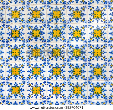 Vintage azulejos (ancient tiles) - Lisbon, Portugal. - stock photo