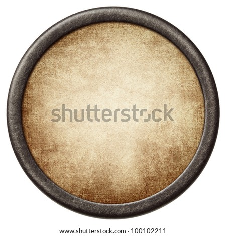 Vintage background. Aged paper in a metal frame. - stock photo