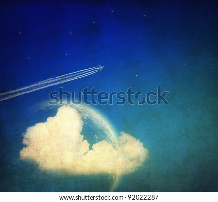 Vintage background, aircraft and sky - stock photo