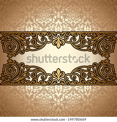 Vintage background, antique, victorian gold ornament, baroque frame, beautiful old paper, card, ornate cover page, label; floral luxury ornamental pattern template for design - stock photo