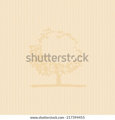 Vintage background cardboard/paper texture with a stylized old tree in the rear. Careful handmade texture. - stock photo