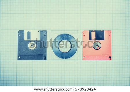Vintage background computer floppy disks mini cd stock photo safe vintage background computer floppy disks and mini cd on the blueprint paper toned malvernweather Image collections