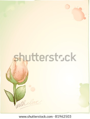 Vintage background customizable with rose - stock photo
