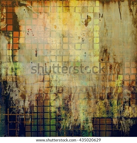 Vintage background - dirty ancient texture. Antique grunge backdrop with different color patterns: yellow (beige); brown; green; blue; gray; red (orange) - stock photo