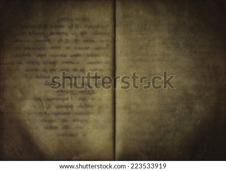 Vintage background from an old open handwritten notebook, used paper texture - stock photo